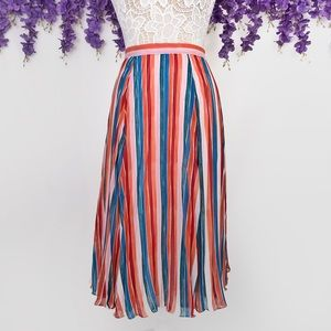 Anthropologie Claremont Pleated Striped Midi Skirt